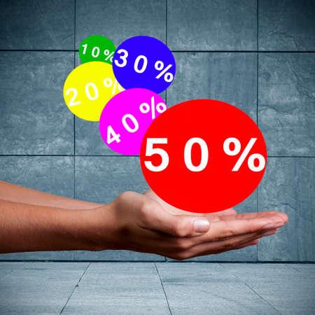 rebates: businessman pressing circle discounts rebates