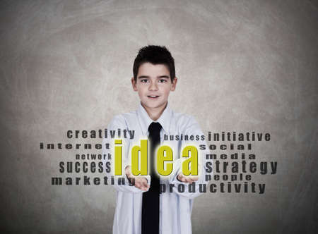 young man in business clothes with the idea and message concepts photo