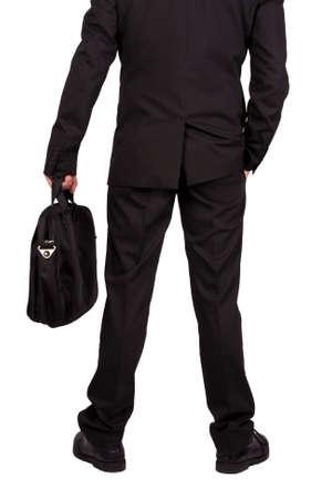 businessman with suitcase isolated on white background photo