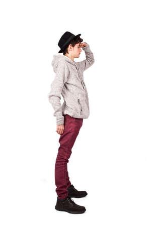 entire: posing full body slim and stylish hat