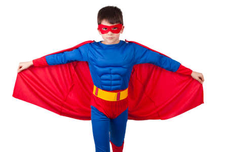 kind superheld kleren geïsoleerd op witte achtergrond