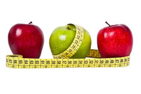 diet healthy: fruta fresca con la medici�n de cintra concepto de dieta saludable