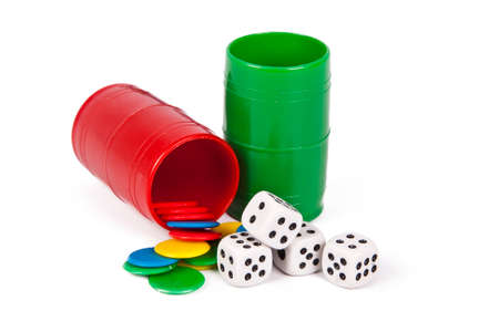 parchis dice and chips isolated on white  Standard-Bild