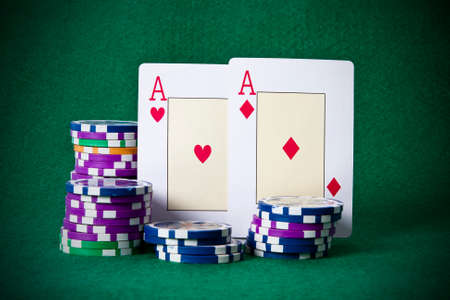 poker cards: poker cards and chips Stock Photo