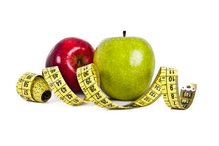 apple with tape measure, concept of healthy eating, lifestyle Stock Photo