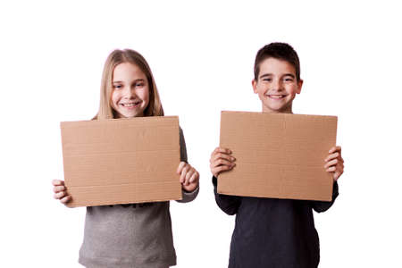 children with cardboard signs photo