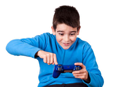 kids playing video games: isolated child playing video games
