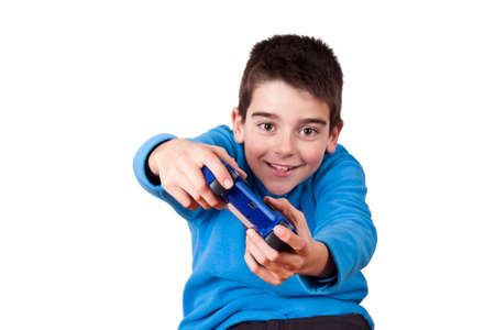 playing video games: isolated child playing video games