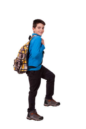 school age boy: boy with school bag
