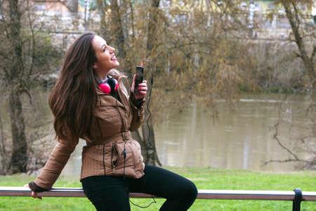 beat women: girl listening to music Stock Photo