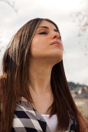 young latin girl dreaming Stock Photo