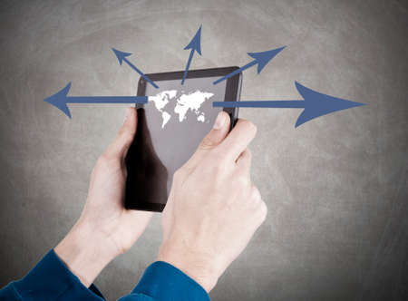 teleconferencing: hands with mobile tablet, globalization