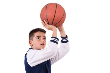 basket ball: length child isolated on white with ball Stock Photo