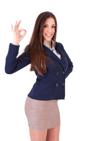 business woman with the sign of approval