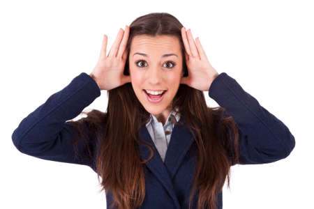 rebates: business woman with expression of surprise