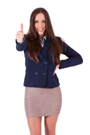 competitividad: mujer de negocios con el signo de aprobación