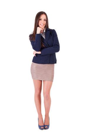 actitud: sonriente mujer de negocios actitud positiva Foto de archivo