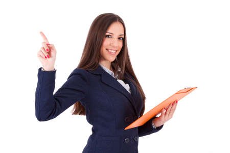 hand pointing: isolated business woman pointing Stock Photo