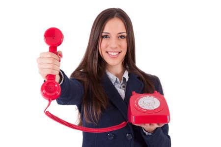 Mujer de negocios con el teléfono retro Foto de archivo
