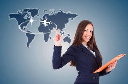 zakenvrouw met reizen kaart