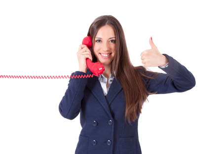 ok symbol: ragazza con il telefono e facendo bene simbolo