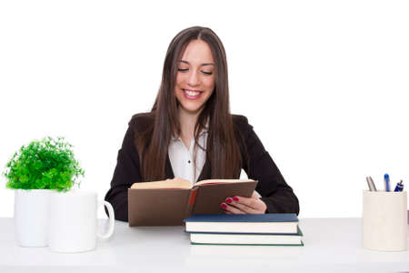 concetrated: Business woman at the office reading