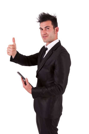 affirmation: man in suit and ok symbol tablet Stock Photo