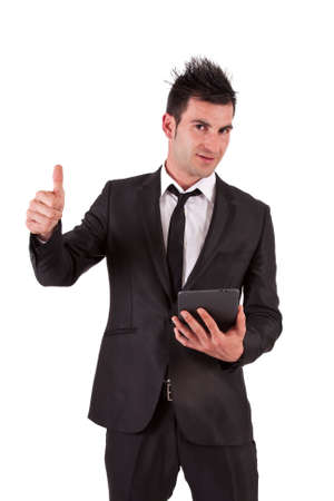 ok symbol: man in suit and ok symbol tablet Archivio Fotografico