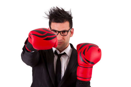 ifestyle: Businessman with boxing gloves