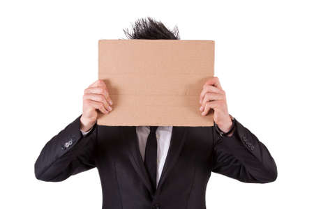 bussiness man: man in suit and cardboard poster Stock Photo