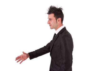 spiked hair: man with black suit shaking hands