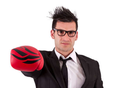 pugilist: man in a suit and boxing gloves Stock Photo
