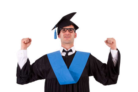 toga: portrait of student toga victorious Stock Photo