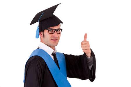 toga: retrato de toga estudiante haciendo bien s�mbolo