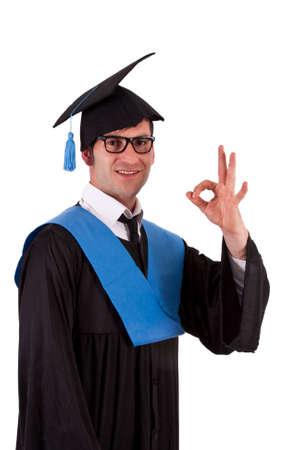 toga: portrait of student toga doing ok symbol