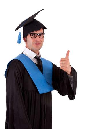 ok symbol: Ritratto di studente di toga facendo bene simbolo