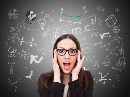 academia: business woman with expression of innovation Stock Photo