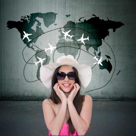 holiday destination: girl choosing holiday destination Stock Photo