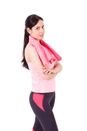 sportwoman: girl playing sports towel Stock Photo