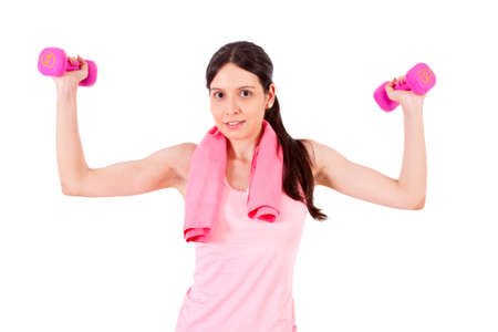 sportwoman: girl with dumbbells