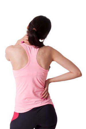 spinal disc herniation: girl with back pain Stock Photo