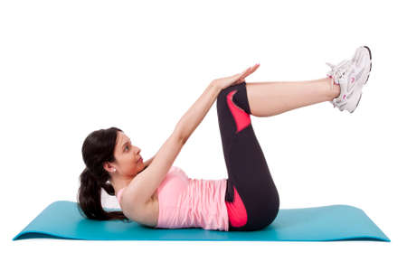 laying abs exercise: girl doing abdominal
