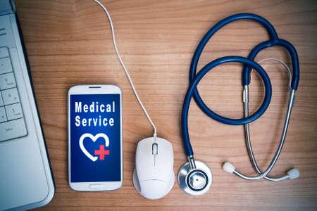 consulta médica: concepto de tecnología médica Foto de archivo