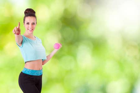 strong women: woman doing outdoor sport Stock Photo
