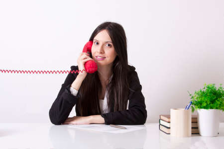 phone cord: business woman with phone cord