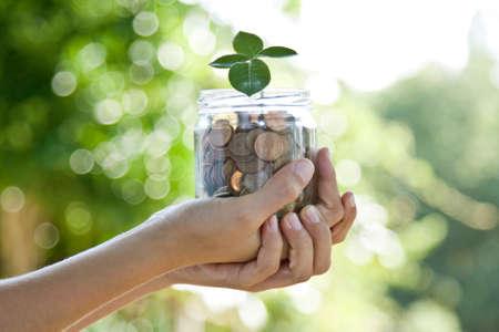 concept van de besparing, economie en financiën