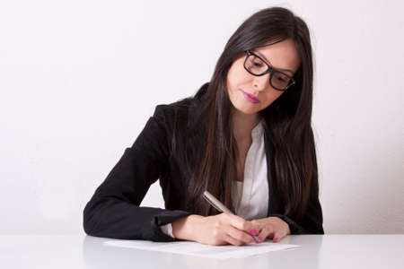 hand job: Business woman writing