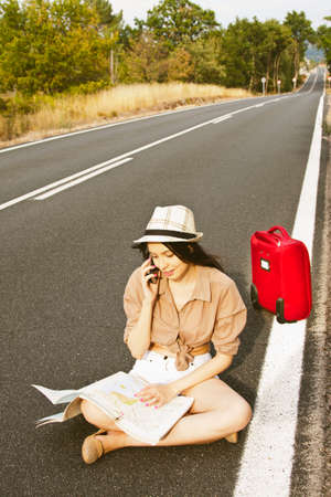 passerby: girl on the road map