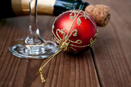 christmas baubles: christmas celebrations and christmas drinks Stock Photo