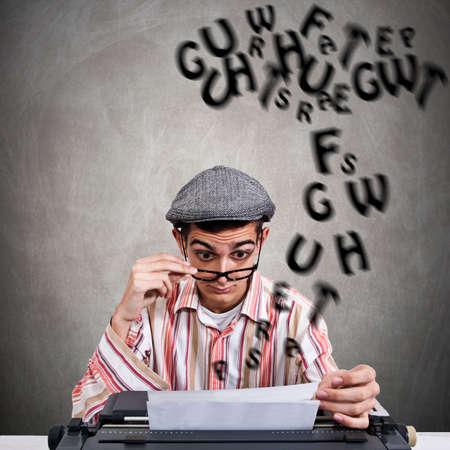 entrepreneurial: man with typewriter at work, business